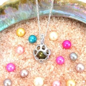 Jewelry - Paw Print Pearl Cage Pendant 925 Sterling Silver